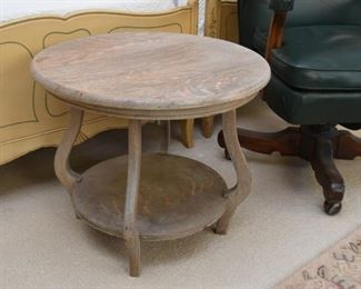 Round Pickled Oak / Wood Side Table