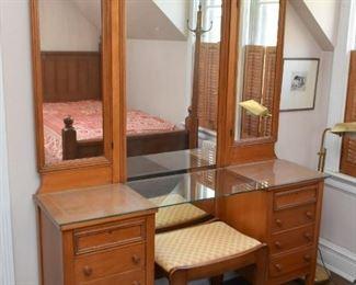 Vintage Vanity with Stool & Triple Mirror