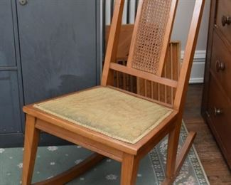 Vintage Rocking Chair with Cane Detail on Back
