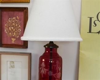 Etched Cranberry Glass Table Lamp