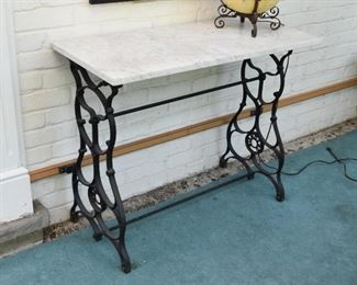 Console Table with Iron Base & Marble Top