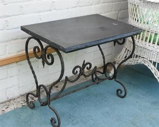 Side Table with Iron Base & Stone Top