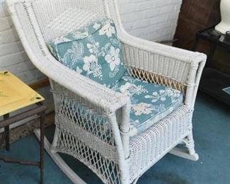 White Wicker Patio / Porch Furniture - Rocking Chair