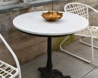 Round Bistro Table with Iron Base