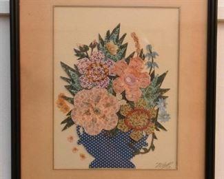 Framed Fabric Art Floral Still Life