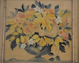 Original Painting on Wood - Floral Still Life, Signed