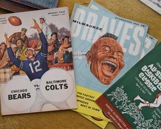 Vintage Chicago Bears, Milwaukee Braves Programs