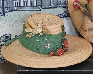 Vintage Women's Straw Hat with Strawberries & Insect