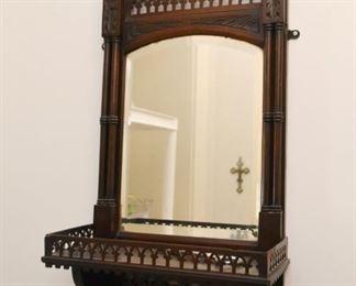 Victorian Wall Mirror with Display Shelf