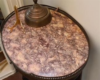 Antique / Vintage Oval Accent Table with Stone Top