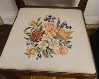 Wood Side Chair with Needlepoint Seat