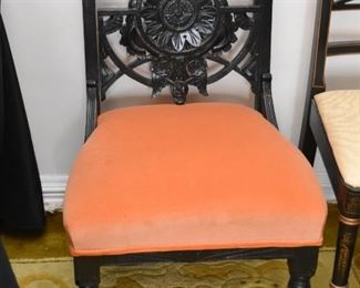 Wood Carved Side Chair with Upholstered Seat