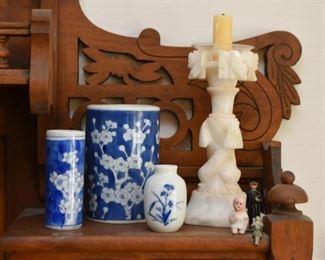 Asian Ceramics, Alabaster Candlestick, Miniatures