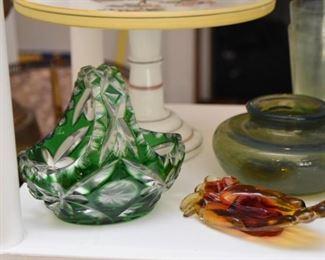 Green Cut Glass Basket Bowl