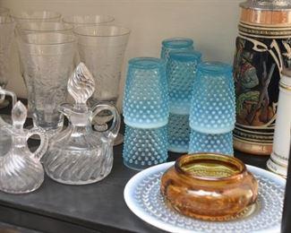Crystal & Glassware - Stemware, Cruets, Blue Hobnail Tumblers