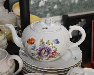Hand Painted Ceramic Teapot & Plates