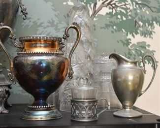 Silver Plate Urn, Pewter Pieces