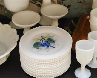 White Milk Glass Hand Painted Dessert Plates