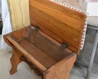Antique Upholstered Storage Bench