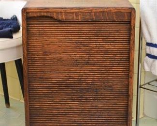 Oak Cabinet with Roll-Up Door