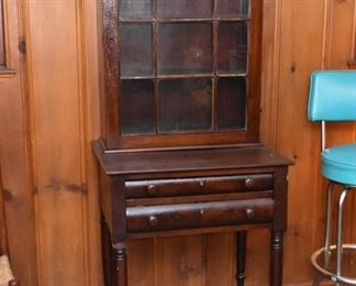 Antique 2-Drawer Table with Display Hutch, Glass Door