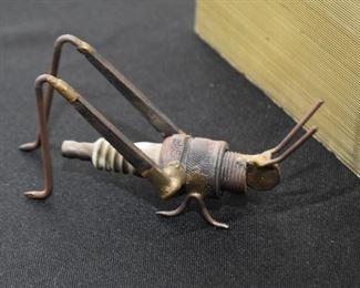 Assemblage Metal Art Grasshopper Figurine