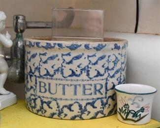 Spongeware Butter Crock