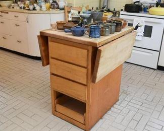 Wooden Drop Leaf Kitchen Island / Work Station