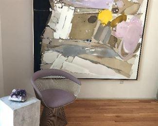 Knoll Chrome chair, cement pillar, Original arcylic framed artwork, and minerals