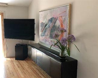 Large TV and large framed acrylic