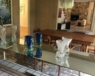 crystal and blown glass vases