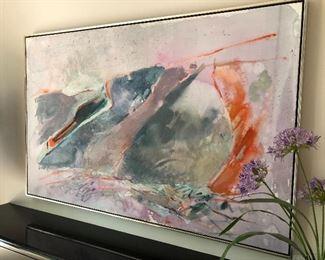 Large framed acrylic