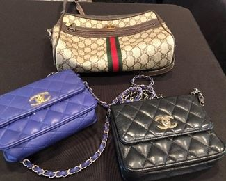 Channel and Gucci purses