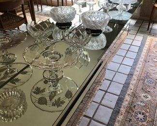 cake plates and crystal bowls