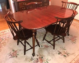 Pennsylvania House cherry dining room table with 6 chairs, 3 leaves and pads