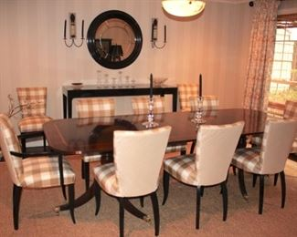 Banded Dining Room Table with 10 Upholstered Chairs Handmade by Trosby, Sussex, England