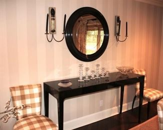 Console Table, Round Framed Mirror, Pair of Wall Sconces, Set of Candlesticks and Decorative Bowls