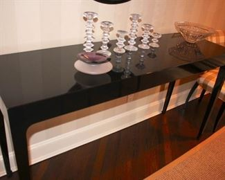 Console Table, Set of Candlesticks and Decorative Bowls