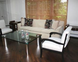 Sofa, Pair of Quality Deco Side Tables with Chrome and Glass Coffee Table and 2 Side Chairs