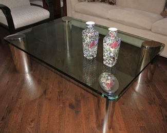 Chrome & Glass Coffee Table and Pair of Small Urns
