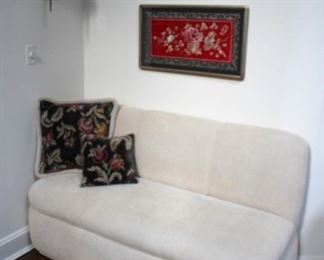 Small Love Seat with Accent Pillows and Art