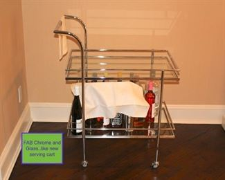Fab Chrome and Glass Serving Cart - Like New