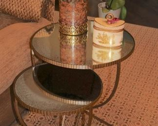 Round Metal & Glass Table (multiple levels) with Decorative Items