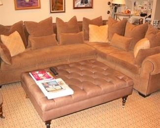 Sectional with Oversized, Tufted Ottoman and Decorative Pillows