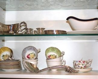 Assorted China Cups and Saucers with Gravy Boats and more