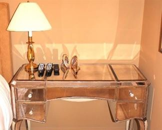 Small Mirrored Desk with Lamp