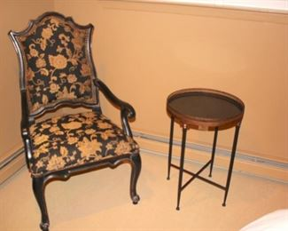 Upholstered Chair and Small Round Side Table