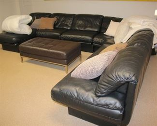 Sofa and Sectional with Oversized Tufted Ottoman / Coffee Table