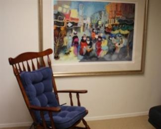 Rocking Chair with Cushions and Large Art