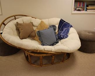 Kidney Shape Bamboo Chair with Cushion and Pillows